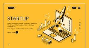 Startup business isometric line vector illustration stock illustration