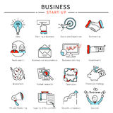 Startup Business Line Icon Set Stock Photography