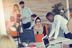Startup business people group working everyday job at modern office Royalty Free Stock Photos