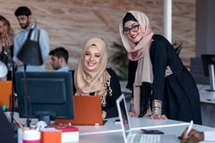 Startup business people group working everyday job at modern office. Tech office, tech company, tech startup, tech team Royalty Free Stock Photo