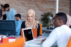Startup business people group working everyday job at modern office. Tech office, tech company, tech startup, tech team Royalty Free Stock Images