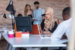 Startup business people group working everyday job at modern office. Tech office, tech company, tech startup, tech team Royalty Free Stock Photography