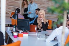 Startup business people group working everyday job at modern office. Tech office, tech company, tech startup, tech team Stock Photography