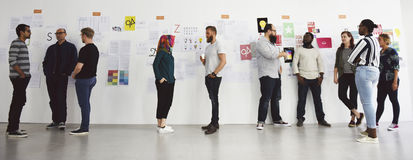 Startup Business People and Strategy Board Presentation Workshop Stock Image