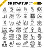 Startup business pixel perfect outline icons Royalty Free Stock Photo