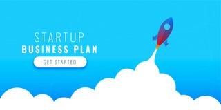 Startup business plan concept design with flying rocket. Vector stock illustration
