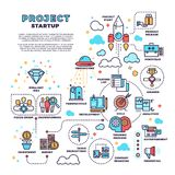 Startup, business project, product management, finance plan vector concept background. Management finance project, illustration of start new project Stock Image