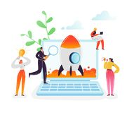Startup Business Project Teamwork Concept. Business Characters Launching Rocket from Laptop Modern Technology Management vector illustration