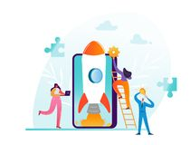 Startup Business Project Teamwork Concept. Business Characters Launching Rocket with Smartphone Modern Mobile Technology royalty free illustration