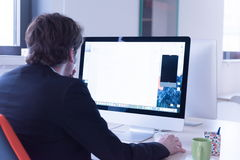 Startup business, software developer working on computer. At modern office Stock Images