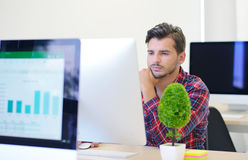 Startup business, software developer working on computer at modern office Royalty Free Stock Image
