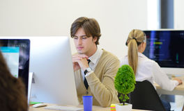 Startup business, software developer working on computer at modern office Stock Photos