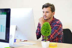 Startup business, software developer working on computer at modern office Stock Images
