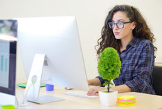 Startup business, software developer working on computer at modern office Stock Photo