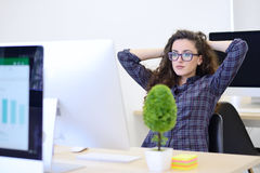 Startup business, software developer working on computer at modern office.  Royalty Free Stock Photography