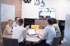 Startup Business Team At A Meeting at modern office building Stock Photo