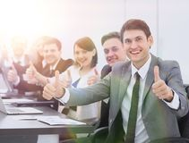 Successful business team showing thumbs up. Startup. business team showing thumbs up royalty free stock photo