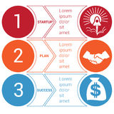 Startup bussines minimal infographic circles arrows 3 positions. Startup bussines minimal infographic templates from circles and horizontal colorful arrows 3 stock illustration