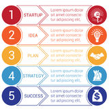 Startup bussines minimal infographic circles arrows 5 positions. Startup bussines minimal infographic templates from circles and horizontal colorful arrows 5 Vector Illustration