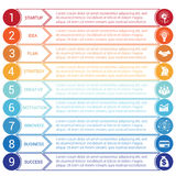 Startup bussines minimal infographic circles arrows 9 positions. Startup bussines minimal infographic templates from circles and horizontal colorful arrows 9 Vector Illustration