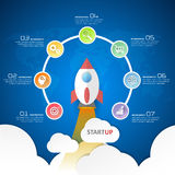 Startup circle infographics with rocket launch, for business concept 7 options. Royalty Free Stock Photo