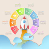 Startup circle infographics with rocket launch, Infographic template 8 options. Royalty Free Stock Images