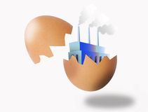 Startup company. Illustration of a startup company which has just come in sight out of a cracked egg Stock Photo