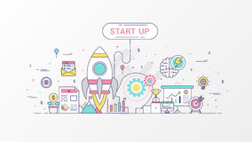 Startup company. Fast-growing business infographic. Horizontal composition template contains Rocket icons, Business planning. Startup company. Fast-growing vector illustration