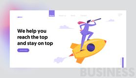 Startup Concept, Businessman Looking Through Spyglass Flying on Rocket. New Business Project Launch, Innovation Idea vector illustration