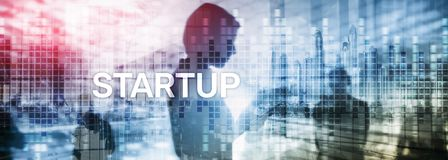 Startup concept with double exposure diagrams blurred background. Startup concept with double exposure diagrams blurred background vector illustration