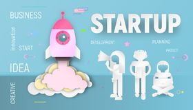 Startup Concept Paper Art stock images