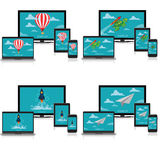Startup concept, paper plane, air balloon, rocket, turtle, vector, illustration, laptop, tablet, monitor, cellphone, electronics, Stock Image