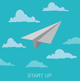 Startup concept, paper plane, clip art, illustration Stock Photography