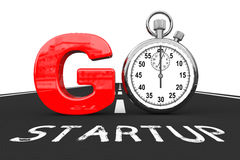Startup Concept. Stopwatch as Go Sign over Startup Road. 3d Rend Stock Images