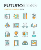 Startup develop futuro line icons Stock Photo