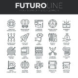 Startup and Development Futuro Line Icons Set. Modern thin line icons set of startup business and launch new product on market. Premium quality outline symbol stock illustration