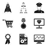 Startup development icons set, simple style. Startup development icons set. Simple set of 9 startup development vector icons for web isolated on white background Royalty Free Stock Images