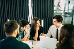 Startup diversity teamwork brainstorming meeting concept. business team coworkers working together at laptop. People working plann Stock Photo