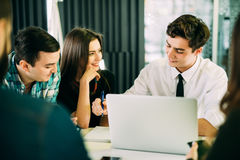 Startup diversity teamwork brainstorming meeting concept. business team coworkers working together at laptop. People working plann Royalty Free Stock Photos