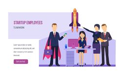 Startup employees, teamwork on business project. Creative team collaboration, brainstorming. Startup employees, teamwork on business project. Creative team stock illustration