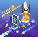 Startup Entrepreneurship Isometric Composition. On blue gradient background with spaceship launch, computer technologies, investment, resources vector Royalty Free Stock Photo