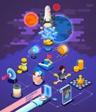 Startup Entrepreneurship  Isometric Composition Poster. Successful startup business entrepreneurship strategy  isometric composition poster with rocket launch Stock Photos