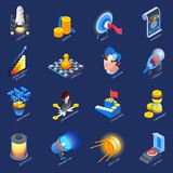 Startup Entrepreneurship Isometric Icons Set. Startup launch concept isometric colorful icons collection with challenge investment strategy research planning Royalty Free Stock Image
