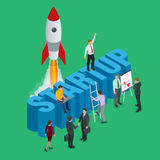 Startup flat 3d isometric style technology business concept web infographics vector illustration. Team working on spaceship launch start up and big word royalty free illustration