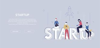 Startup - modern flat design style colorful banner Royalty Free Illustration