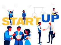 Startup - flat design style colorful illustration on white background. Working together in a team. royalty free illustration