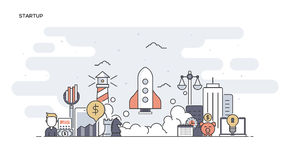 Startup Flat line designed banner Royalty Free Stock Photos