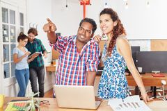 Startup founder sharing idea. With business coworking collegue Royalty Free Stock Image