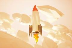 Startup golden rocket Stock Photo