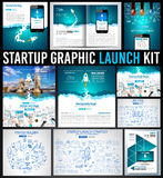 Startup Graphic Lauch Kit with Landing Webpages, Corporate Design Covers Stock Photography